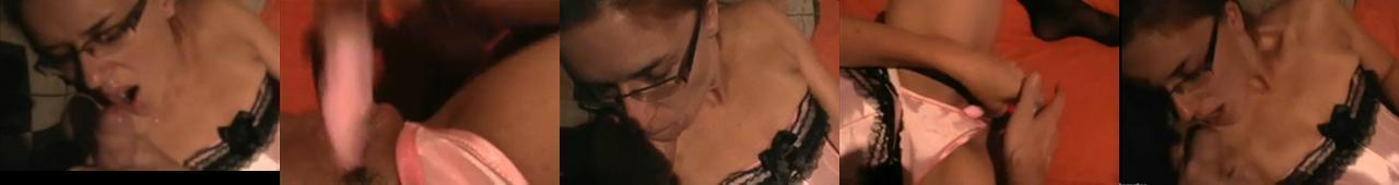 Amatorka w okularach zabawia się z facetem